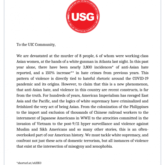Letter Condemning AAPI Hate
